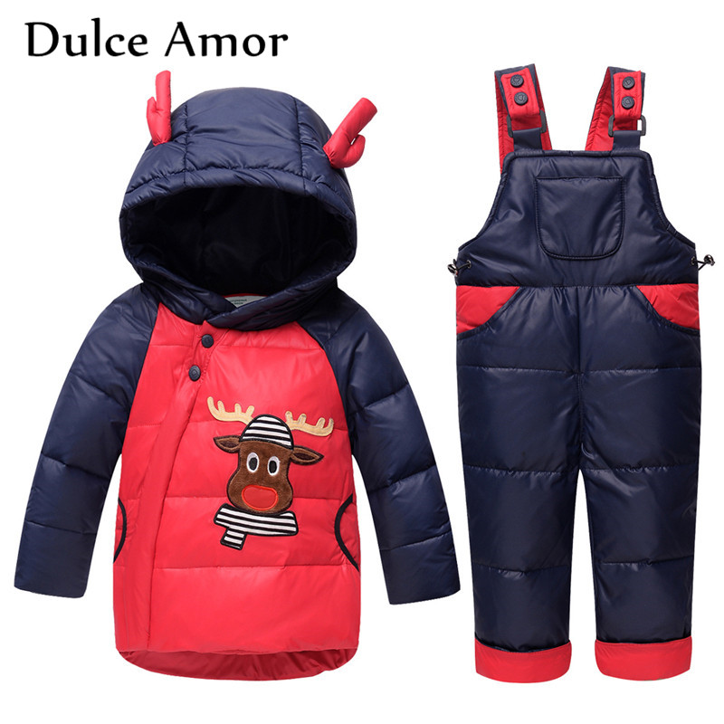 Dulce Amor Children Duck Down Jacket Winter Warm Baby Boy Girl Hooded Deer Patch Coat Snowsuit + Romper Christmas Gift Clothes cacharel туалетная вода женская amor amor l eau 50 мл os