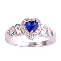 lingmei Wholesale Heart Cut Sapphire Quartz & White Topaz 925 Silver Ring Size 6 7 8 9 10 11 12 For Fashion Lucky Women Rings