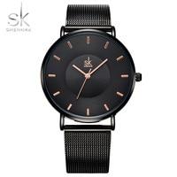 Shengke Fashion Black Women Watches 2018 High Quality Ultra Thin Quartz Watch Woman Elegant Dress Ladies