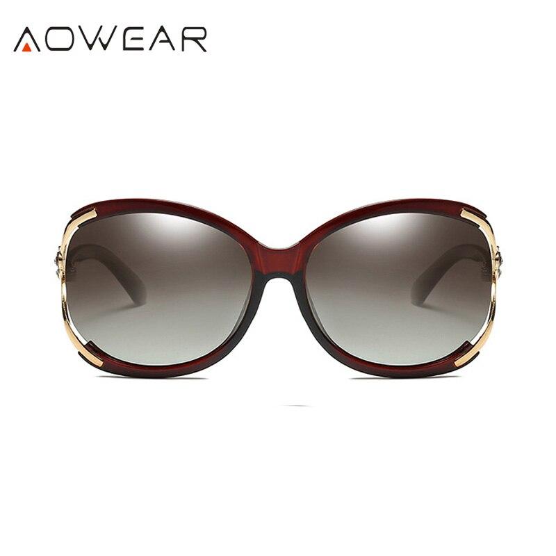 Aowear Для женщин Поляризованные овальные Защита от солнца galsses Роскошный цветок камелии женский Защита от солнца Очки цветок кристалл украшения очки Óculos De Sol - Цвет линз: Brown