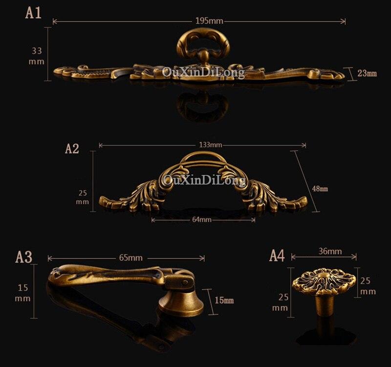 NUOVO 5 Pair o 10 PCS In Ottone Per Mobili Maniglia di Stile Antico Europeo Cassetto Armadio Armadio Armadio Da Cucina Tira Maniglie e manopole - 6