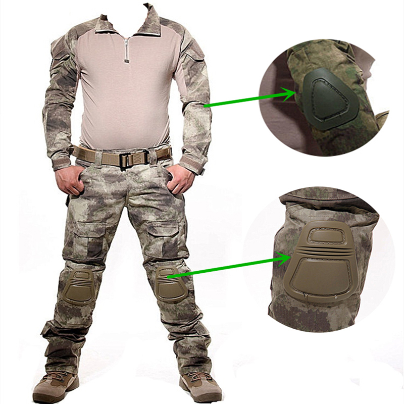 цена на Military Camouflage Hunting Clothes With Protection Knee And Elbow Pads Tactical Uniform Set Men Airsoft Paintball Suits