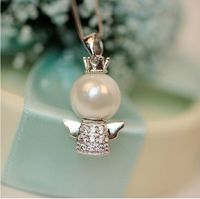 New Fine Jewelry Big Pearl Fairy 925 Sterling Silver Lovely Angel Baby Princess Collier Necklaces