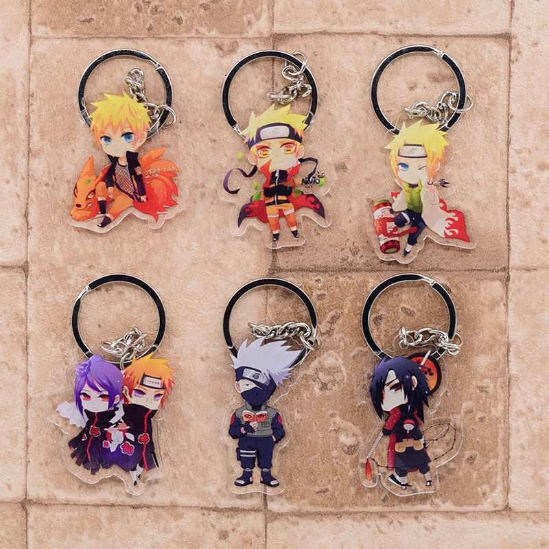 Naruto Keychain Cute Acrylic Key Chain Ring Pendant Cartoon Key Ring Anime Accessories(China)