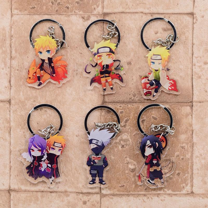 Naruto Keychain Pendant Key-Ring Anime-Accessories Acrylic Cartoon Cute