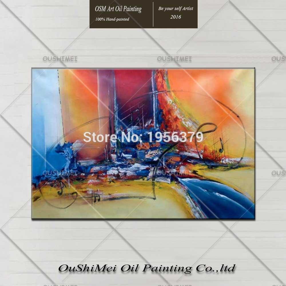 Art mural beau crépuscule Orange ciel bleu foncé paysage grande taille peint à la main peinture à l'huile sur toile belle décoration de l'espace
