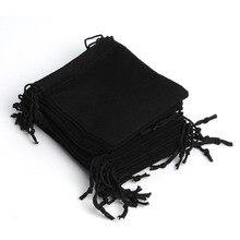 Bolsa De terciopelo con cordón ajustable para mujer, bolsa De regalo De recuerdo para fiesta De Navidad De 100 Uds., 12x10Cm, color negro