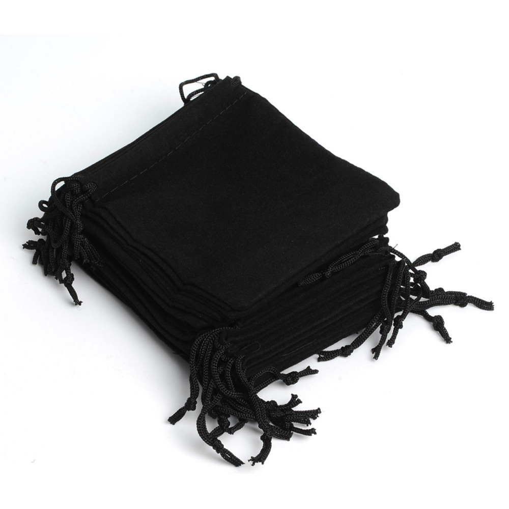 De Bijoux 100pcs 12*10Cm Black Drawstring Velvet Pouch Bags Bracelet Wedding Holiday New Year Christmas Party Favor Gift Bag