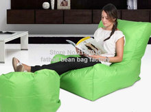 Green sofa chair, outdoor bean bag furniture set with foot stool — waterproof beanbag home folding chair