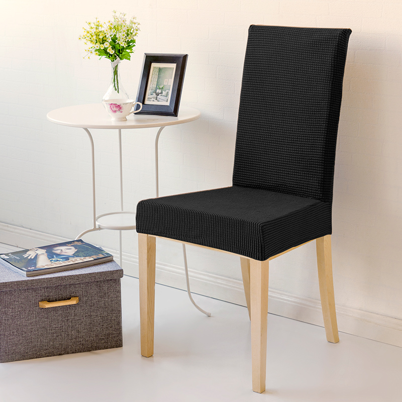 Classic Black Solid Color Stretch Home Decor Dining Chair ...