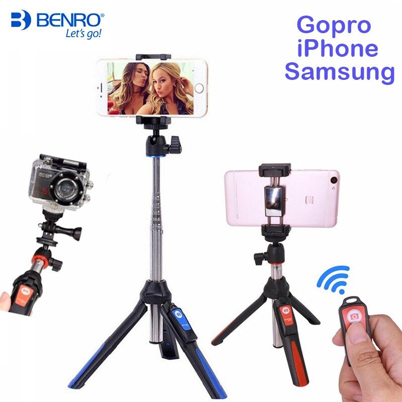 Benro Bluetooth Bastone Selfie Treppiede MK10 Allungabile Self-Portrait Monopiede treppiede per iPhone XS Samsung Huawei P20 Pro Gopro 7 6