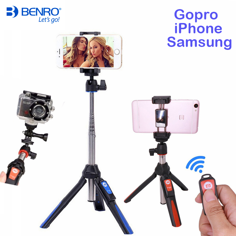 все цены на Benro Bluetooth Selfie Stick Tripod MK10 Extendable Self-portrait Monopod tripod for iPhone XS Samsung Huawei P20 Pro Gopro 7 6 онлайн
