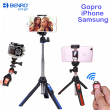 Benro Bluetooth Selfie スティック三脚拡張可能なセルフポートレート一脚 iphone 4 用三脚 XS サムスン華為 P20 移動プロ 7 6