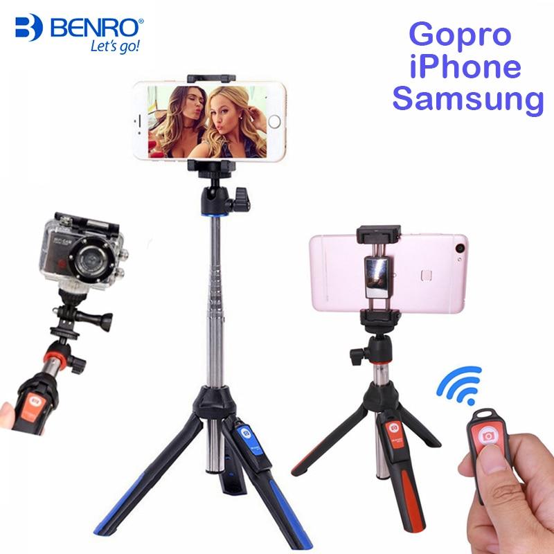 Benro Wireless Bluetooth Selfie Stick Tripod Extendable Self-portrait Monopod tripod for iPhone X Samsung Gopro 5 action camera