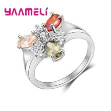 YAAMELI Personality Women Fashion Jewelry New Charming Party Accessories Wholesale Luxury 925 Stamp Sterling Silver Wedding Ring(China)