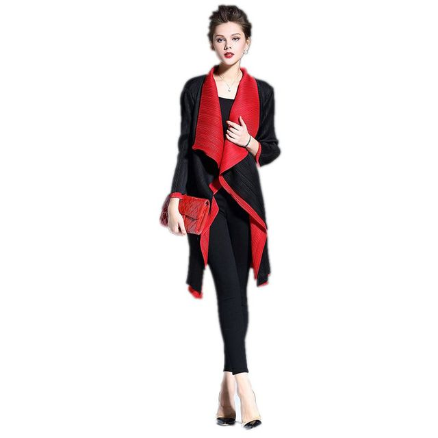 Thin Fashion Asymmetric Trench Coat For Women 2017 New Arrival Women's Winter Coats Open Stitch Patchwork Coat Female F400