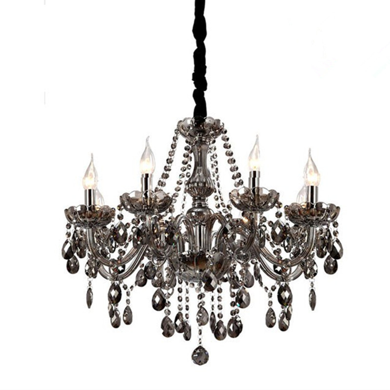 Aliexpress Modern Crystal Chandeliers Lighting Re De Smokey Grey Ceiling Lamp Dining Room Light Fixtures 6 Arms Luminaire From