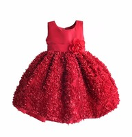 New 3d Flower Girls Party Dress Sleeveless Solid Red Girls Christmas Dresses