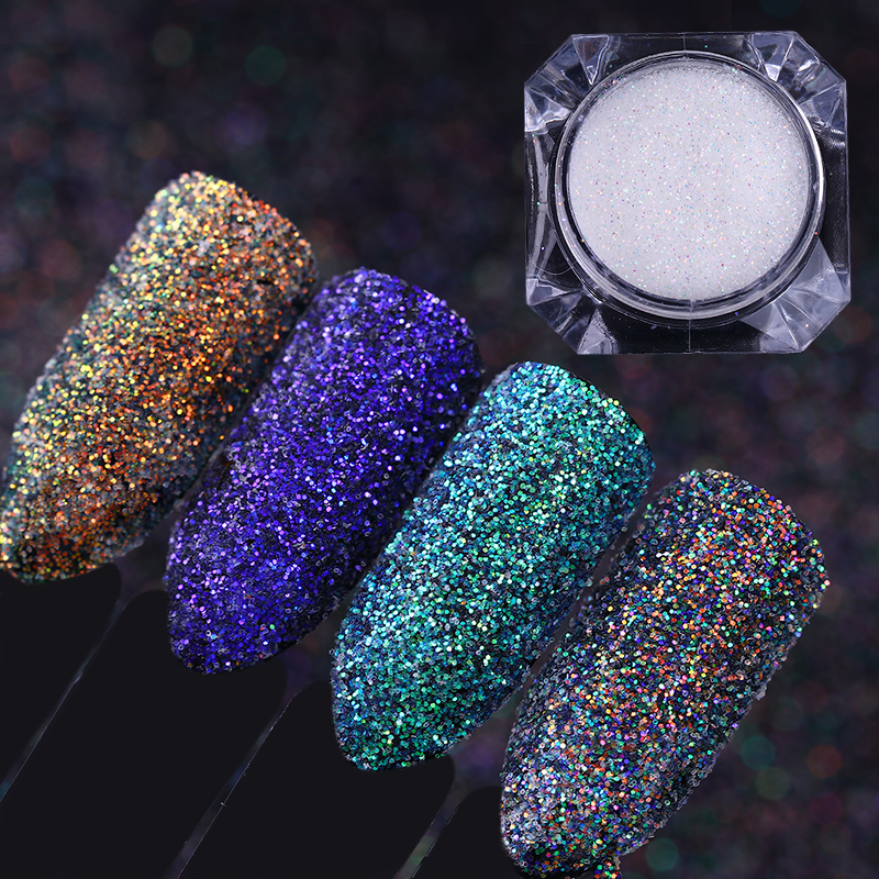 4 Boxes Laser Nail Glitter Sequins Transparent Dip Powder Nail Art Holographic Paillette Colorful Manicure Flakes