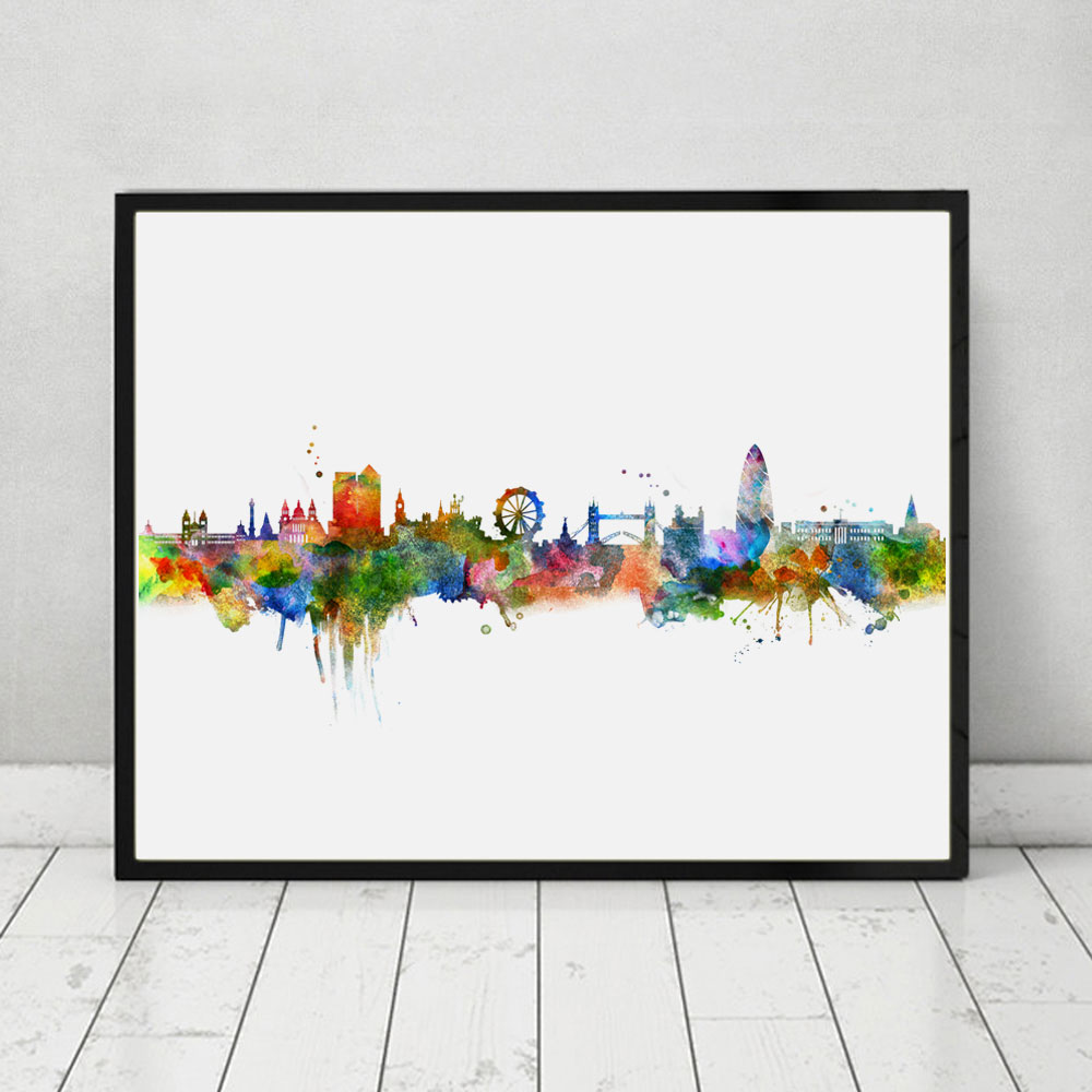London Skyline City Poster Watercolor Painting London Wall Hanging Skyline  Wall Decor Landscape Poster Art Print AP070 In Painting U0026 Calligraphy From  Home ...