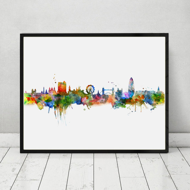 Charmant London Skyline City Poster Watercolor Painting London Wall Hanging Skyline  Wall Decor Landscape Poster Art Print