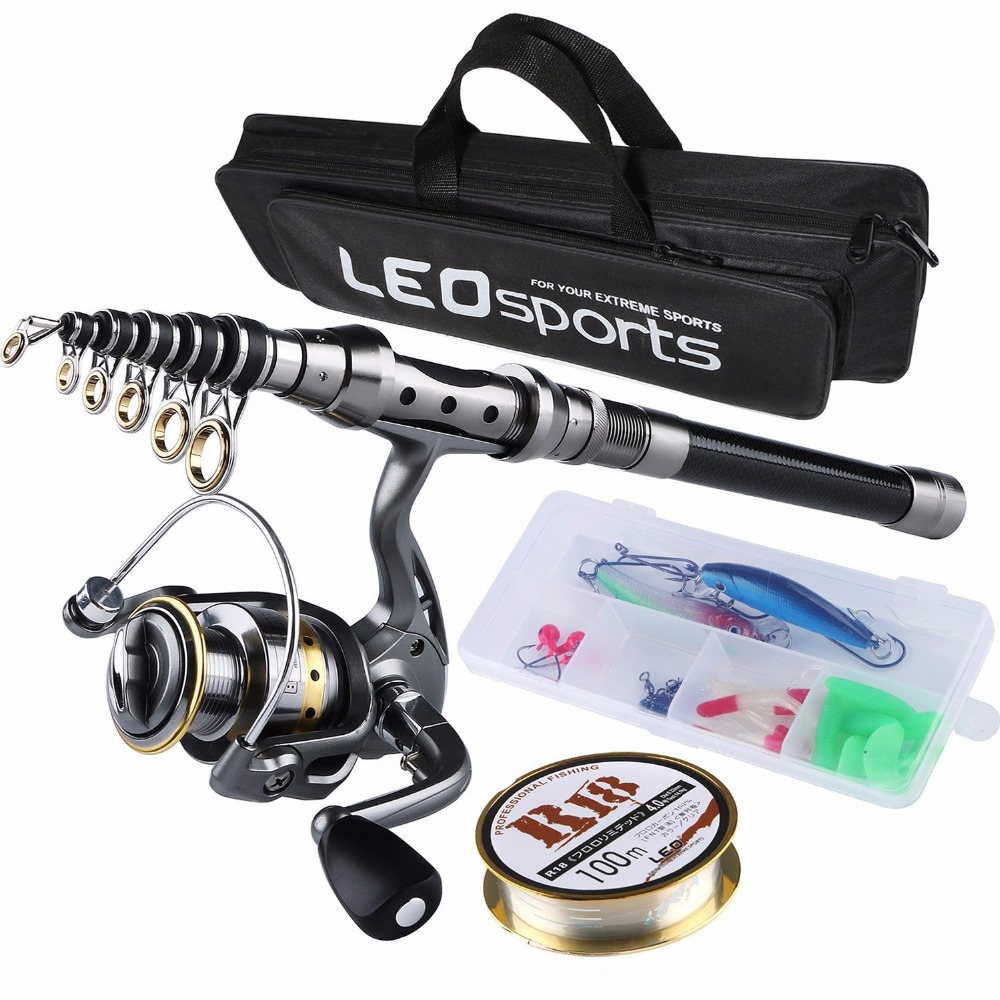Fishing Rod Combo FULL Kit Travel Spinning Telescopic Fishing Rod Reel Set with Line Lures Hooks and Fishing Bag Accessories-in Rod Combo from Sports & Entertainment    1
