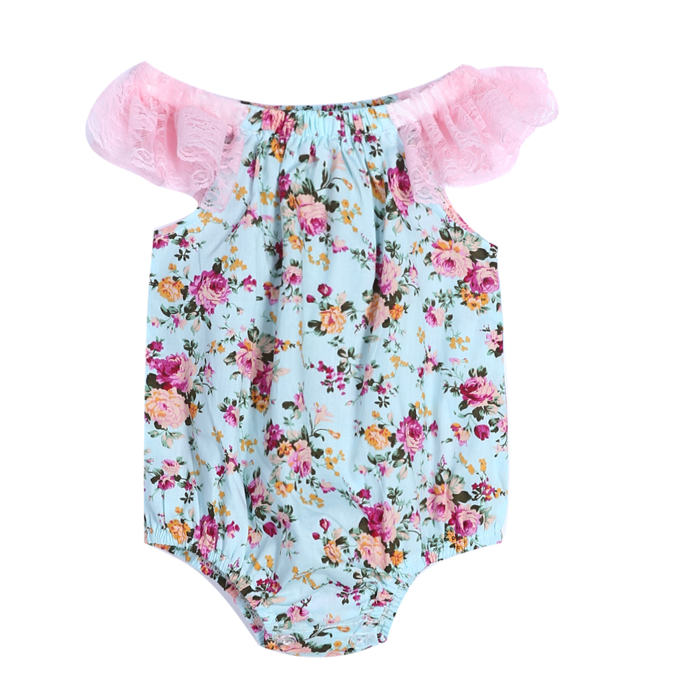 Newborn Infant Baby Girl Lace Patchwork Floral Romper Jumpsuit Outfits Sunsuit Clothes 0-24M
