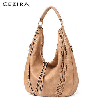 CEZIRA New Fashion Women Handbags Soft Ladies PU Leather Shoulder Bags Hollow Out Large Female Hobos Zipper Tassel Tote Bags - DISCOUNT ITEM  40% OFF All Category
