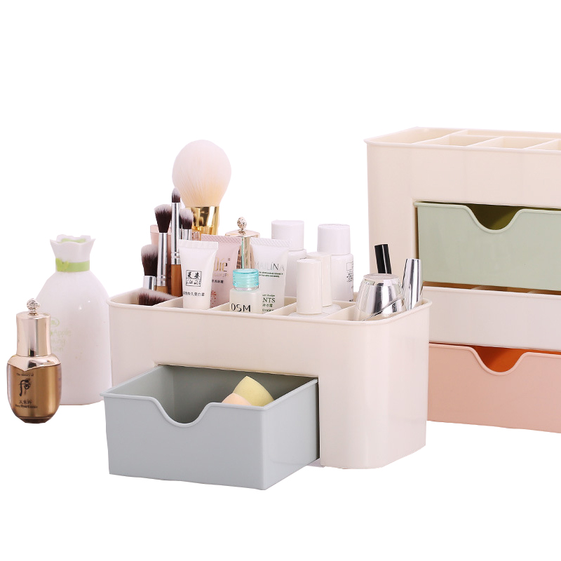 Woman 3 Colors Fashion High Quality Home Storage Box Desktop Shelves Storage Case Makeup Cosmetic Organizer for Jewelry