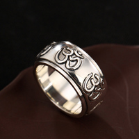 Romeil 925 Sterling Silver Ring Lotus Rings Turn Ring Vintage Thai Silver Ring For Men and Women