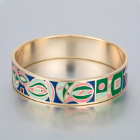 Multi Coloured Enamel Stack Bangle Artistically Hand Decorated Designs Stainless Steel Bracelets For Women Gold Plated