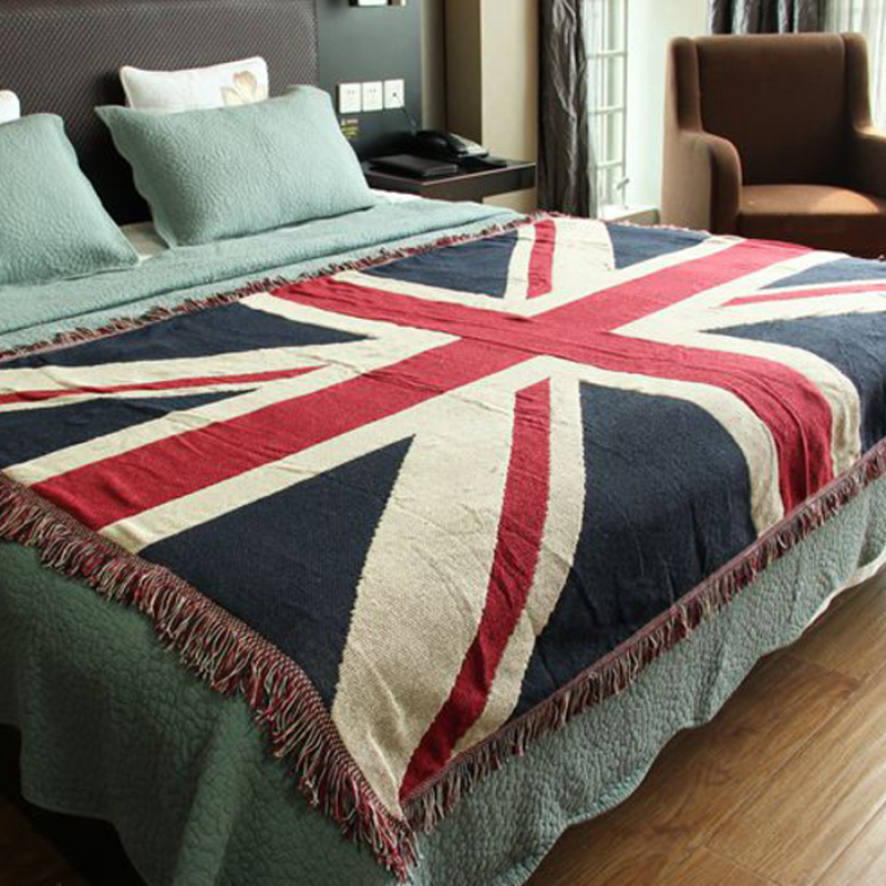 Cotton Carpet Thin Blanket British Flag Throw Mat Sofa Towel Bed Cover Living Room Bedroom Felts Tapestry 130x180 Cm In From Home Garden On