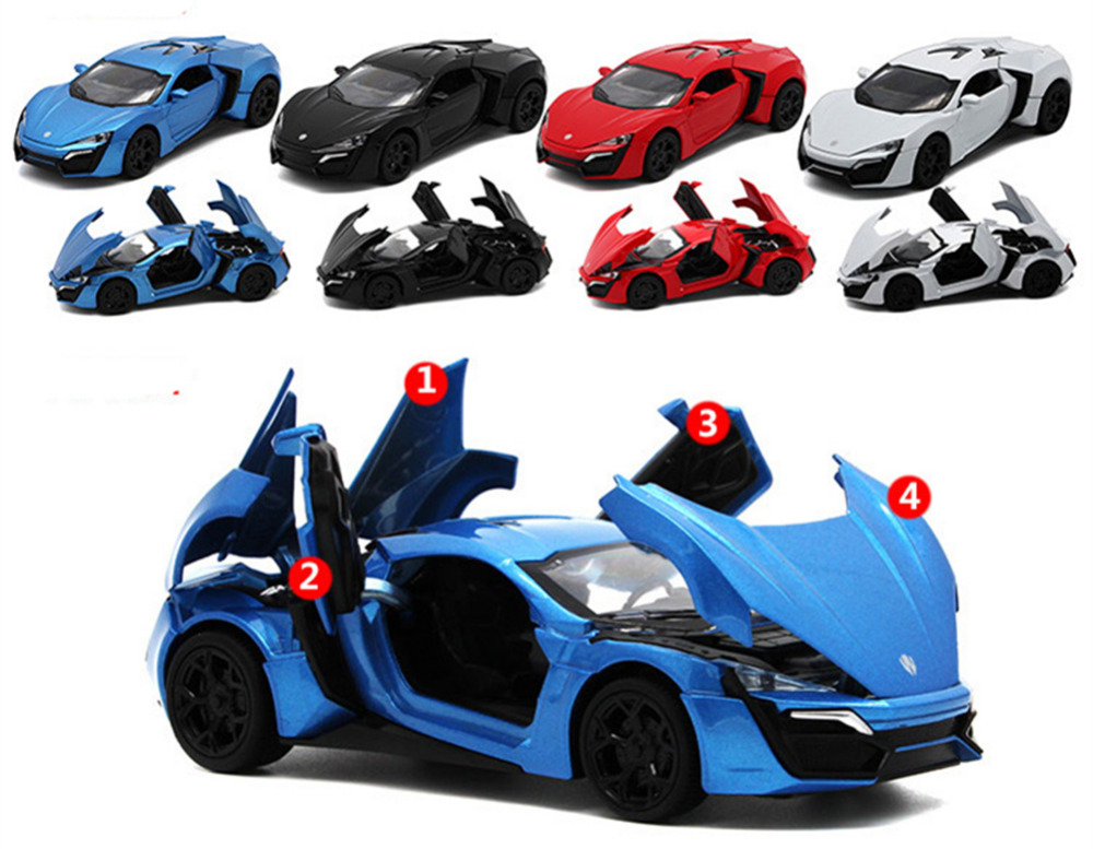 5 color alloy lykan hypersport toy car fast furious 7. Black Bedroom Furniture Sets. Home Design Ideas