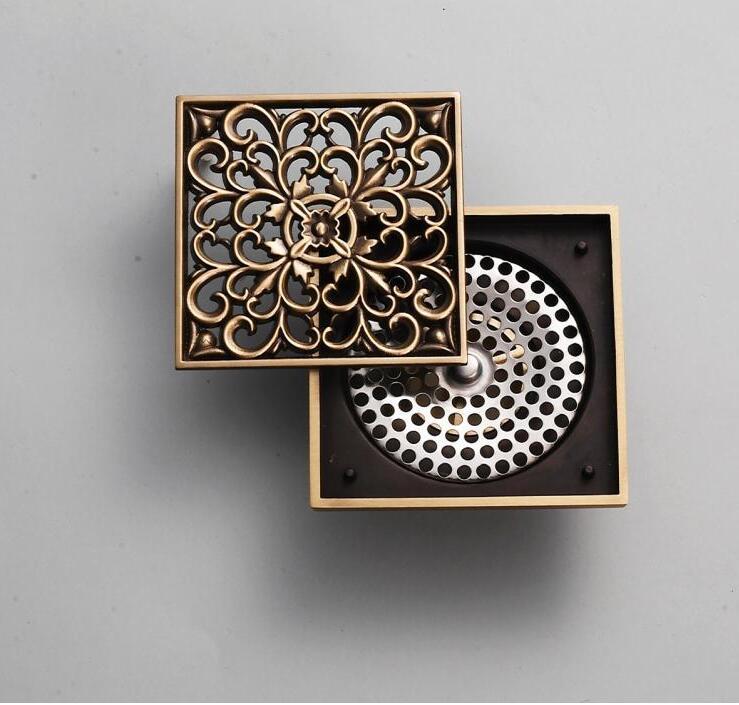 10 X 10 Antique Bronze Finish Fashion Design Euro Square Floor Drain Shower  Drain Bathroom Furniture