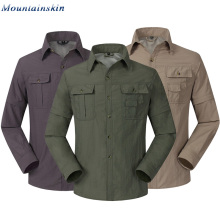 Горные быстросохнущие мужские летние рубашки, дышащие, съемные, спортивные, для рыбалки, походов, походов, Мужская тонкая одежда RM047