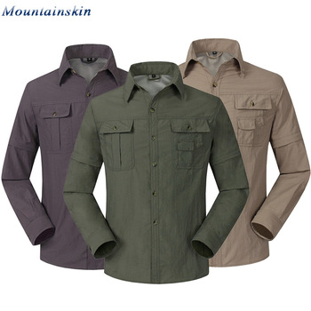 Mountainskin Quick Dry Outdoor Men's Summer Shirts Breathable Removable Sports Fishing Trekking Hiking Male Thin Clothing RM047