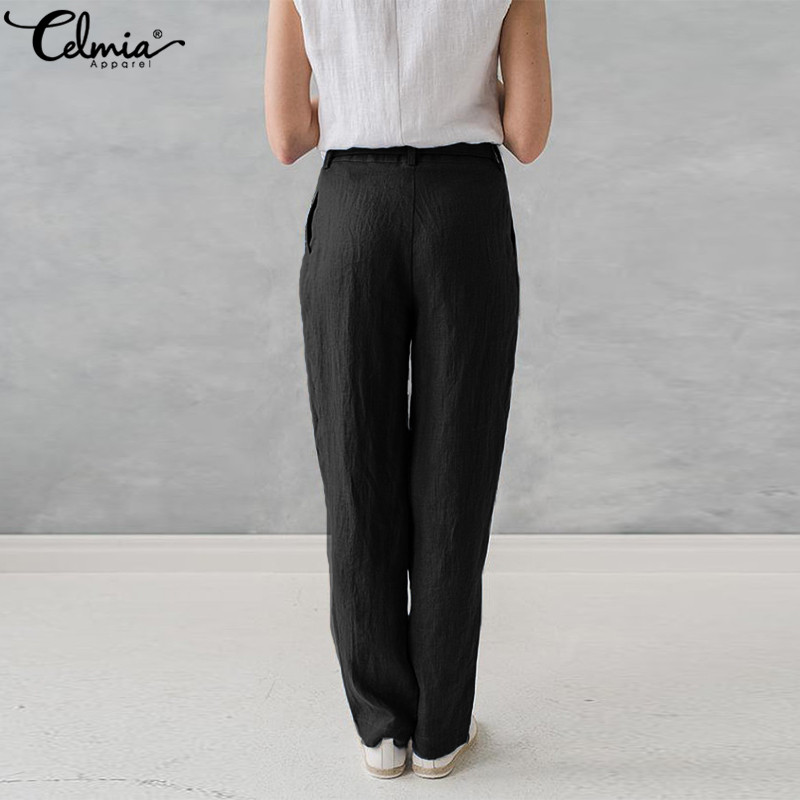 9d06387cc968 Women Cotton Linen Harem Pants Plus Size Celmia Palazzo Pants Pockets Baggy  Summer Trousers Female Casual Work Office Pantalon-in Pants & Capris from  ...