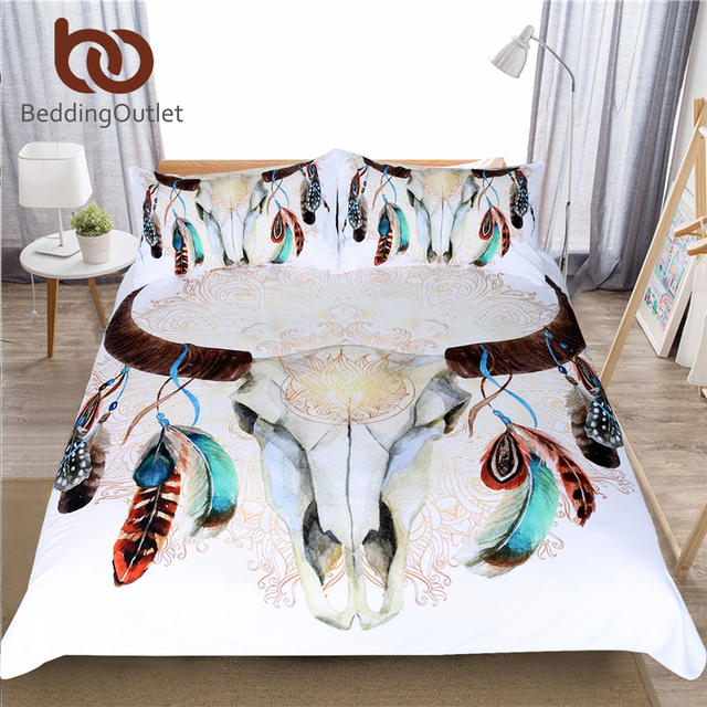 Skull Feather Boho Bedding Set