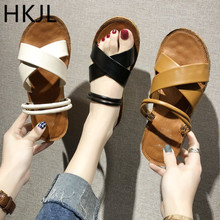 HKJL Fashion women Sandals schoolgirl 2019 new summer anti-skid flat bottom all-purpose outside wear beach sandals A116