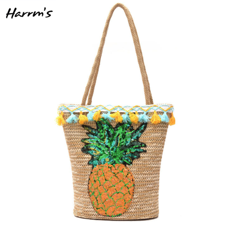 Cute Straw Bags Handbag Summer Holiday Inclined Shoulder Bag Women Lovely Pineapple Bag Fruit Rattan Bag Casual Handmade Gift