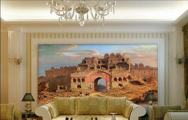 3d wallpaper custom mural non woven delhi city ruins front door3d wallpaper custom mural non woven delhi city ruins front door landscape painting background wall murals stereograph in wallpapers from home improvement on