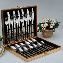 24 Teile/los Edelstahl Besteck Sets Silber Überzogene Besteck Geschirr Geschirr Besteck Messer Löffel Gabel Mit Geschenk-box