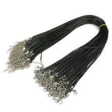 20pcs 1.5/2mm Black Wax Leather cord Snake Necklace Beading Cord String Rope Wire 45cm+5cm Extender Chain with Lobster Clasp DIY