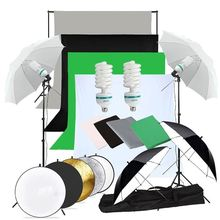 ZUOCHEN 2×135W Photography Studio Umbrellas Lighting Kit White Black Green Gray Backdrop Light Stand+Reflector Kit