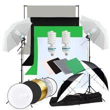ZUOCHEN 2 × 135W 사진 스튜디오 우산 조명 키트 흰색 검정 녹색 회색 배경 스탠드 + 반사판 키트