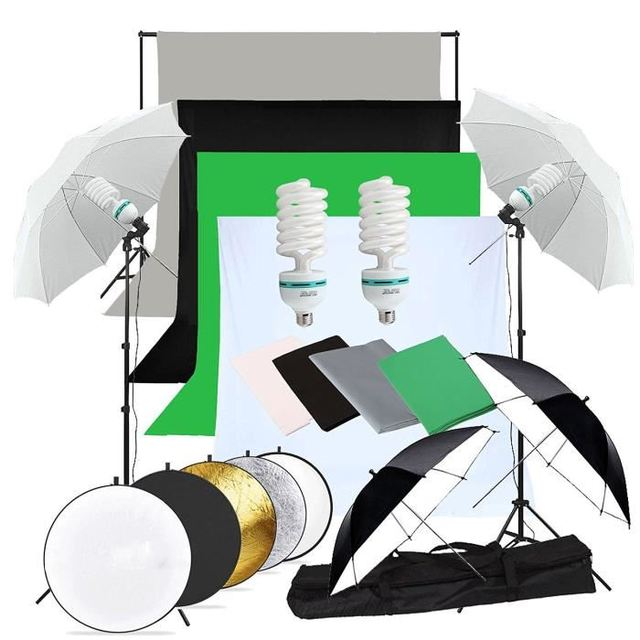 Zuochen 2 × 135w estúdio de fotografia guarda chuvas kit iluminação branco preto verde cinza pano de fundo luz suporte + kit refletor