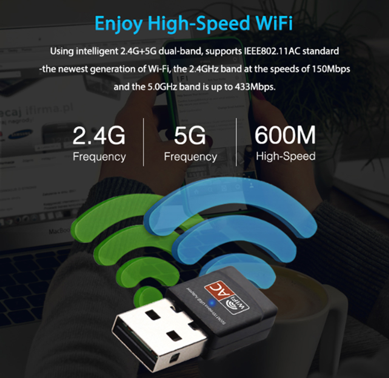 Image 2 - USB WiFi Adapter Ethernet Wi Fi Adapter USB Lan Card 5G Network 600 Mbps Dual Band Wireless Wi Fi Adapter Antenna Wifi Receiver-in Network Cards from Computer & Office