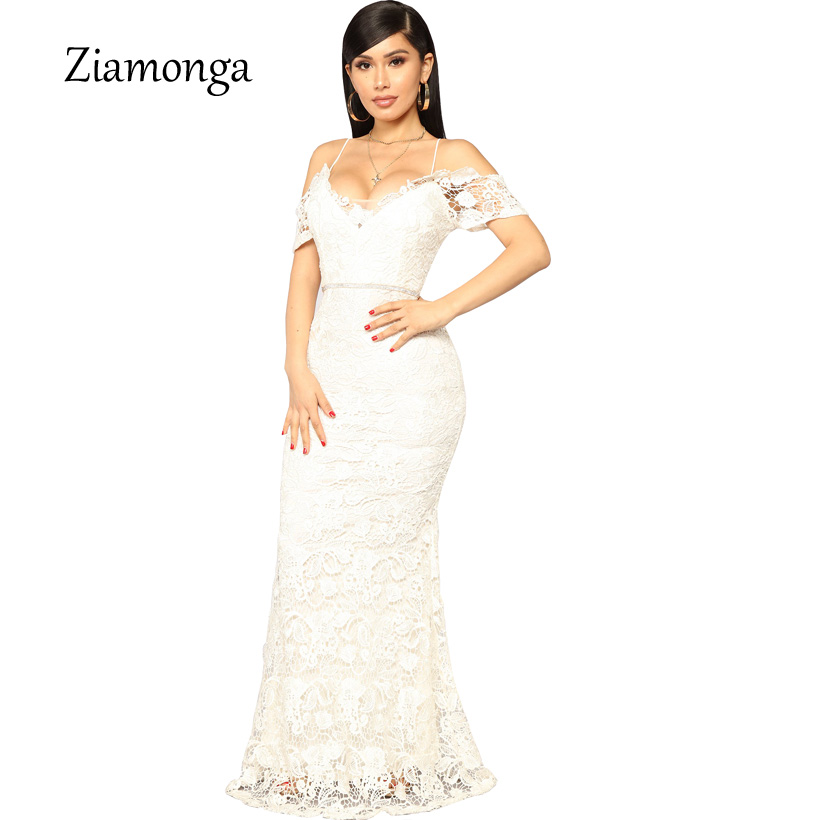 Ziamonga Long Elegant Lace Mermaid Evening Party Dresses 2019 Cheap Price Prom Long Maxi Dress Off Shoulder Strapless Sexy Dress