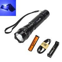 501B 395-400Nm Uv LED Taschenlampe Lila Licht für Geld Lecksucher Katze-Dog-Pet Urin Detektor + 18650 batterie