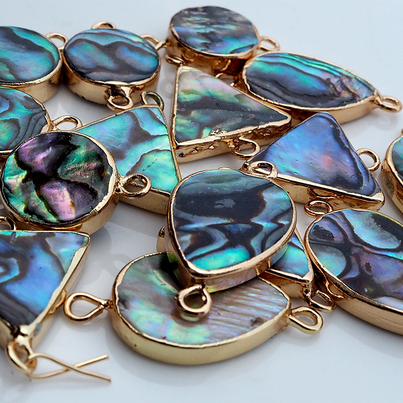 Hot Sell Natural Beet Abalone Shell Pendant Water Drop Triangular Round Edge Double Ear DIY Necklace Bracelet